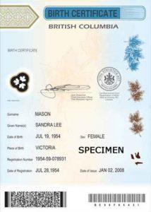 加拿大B.C.省仅包含孩子信息的出生证明样本